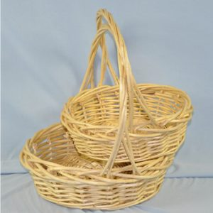 Set of 2 Willow Wicker Round Baskets