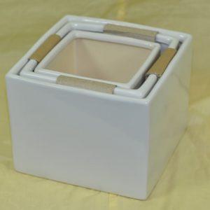 Square Cube Set of 3 Ceramic Vases - 21cm (W) x 16cm (H) / 18cm x 15cm / 14cm x 12cm