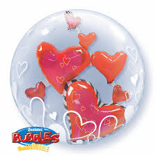 "Lovely Floating Hearts 24"" Bubble Balloon"