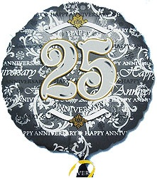 "Silver 25th Anniversary 18"" Balloon"