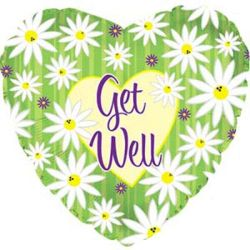 "Get Well Stripes & Daisy 4"" Air-filled Balloon"
