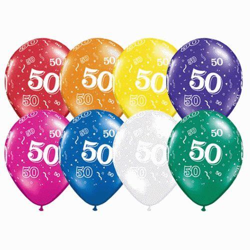 Pack Of 50 11 Printed Latex Balloon 50th Birthday