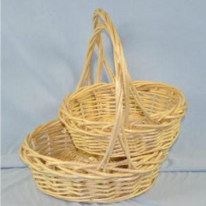 Set of 2 Willow Wicker Round Baskets