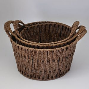 Seagrass Set of 3 Round Basket with Handles