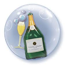 "Bubbly Champagne Bottle & Flute 24"" Bubble Balloon"