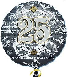 """Silver 25th Anniversary 18"""" Balloon"""