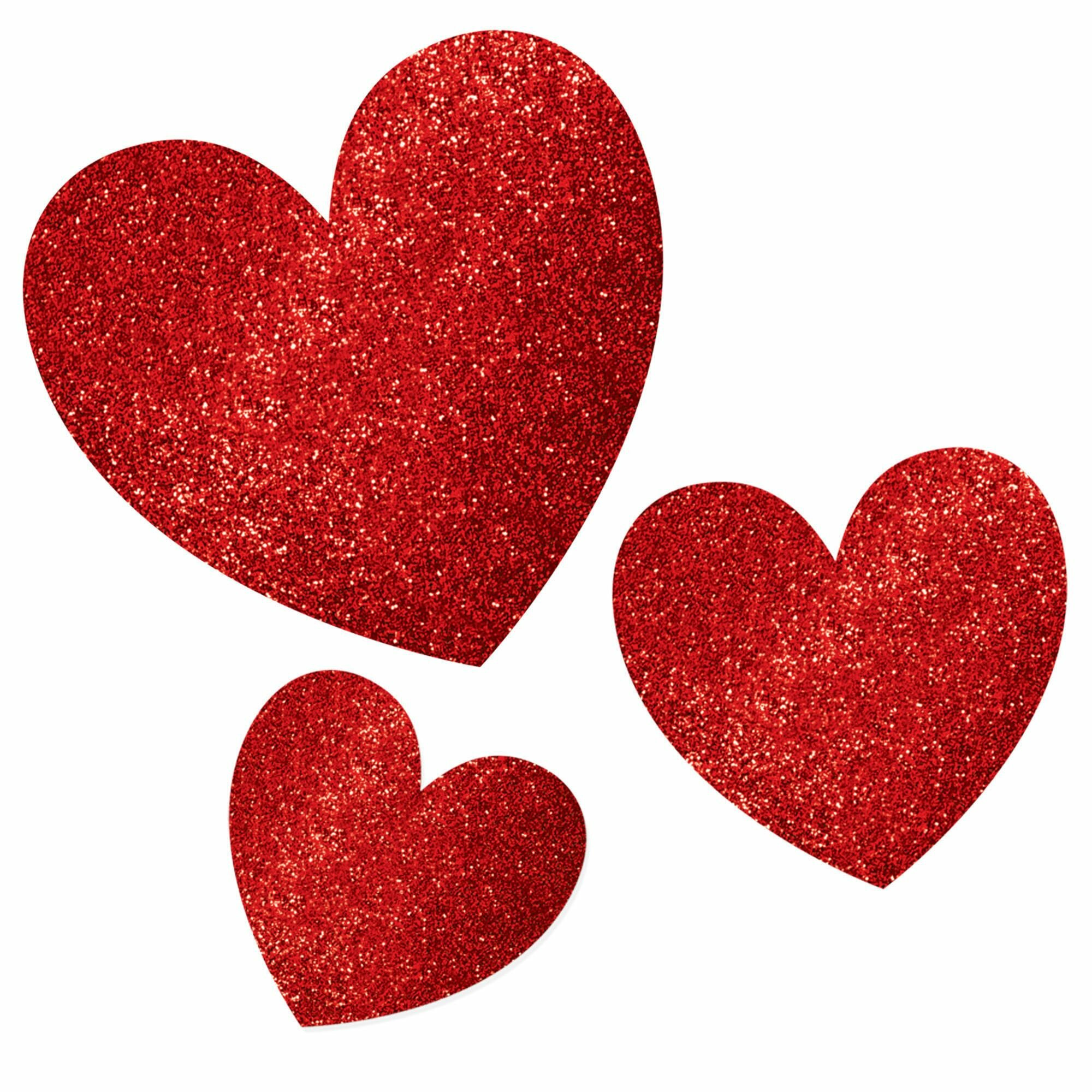 Pack of 20 - Red Glitter Heart Cut Outs - Frogie